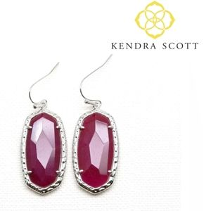 🎁■Kendra Scott■ Silver Ella Agate Drop Earrings